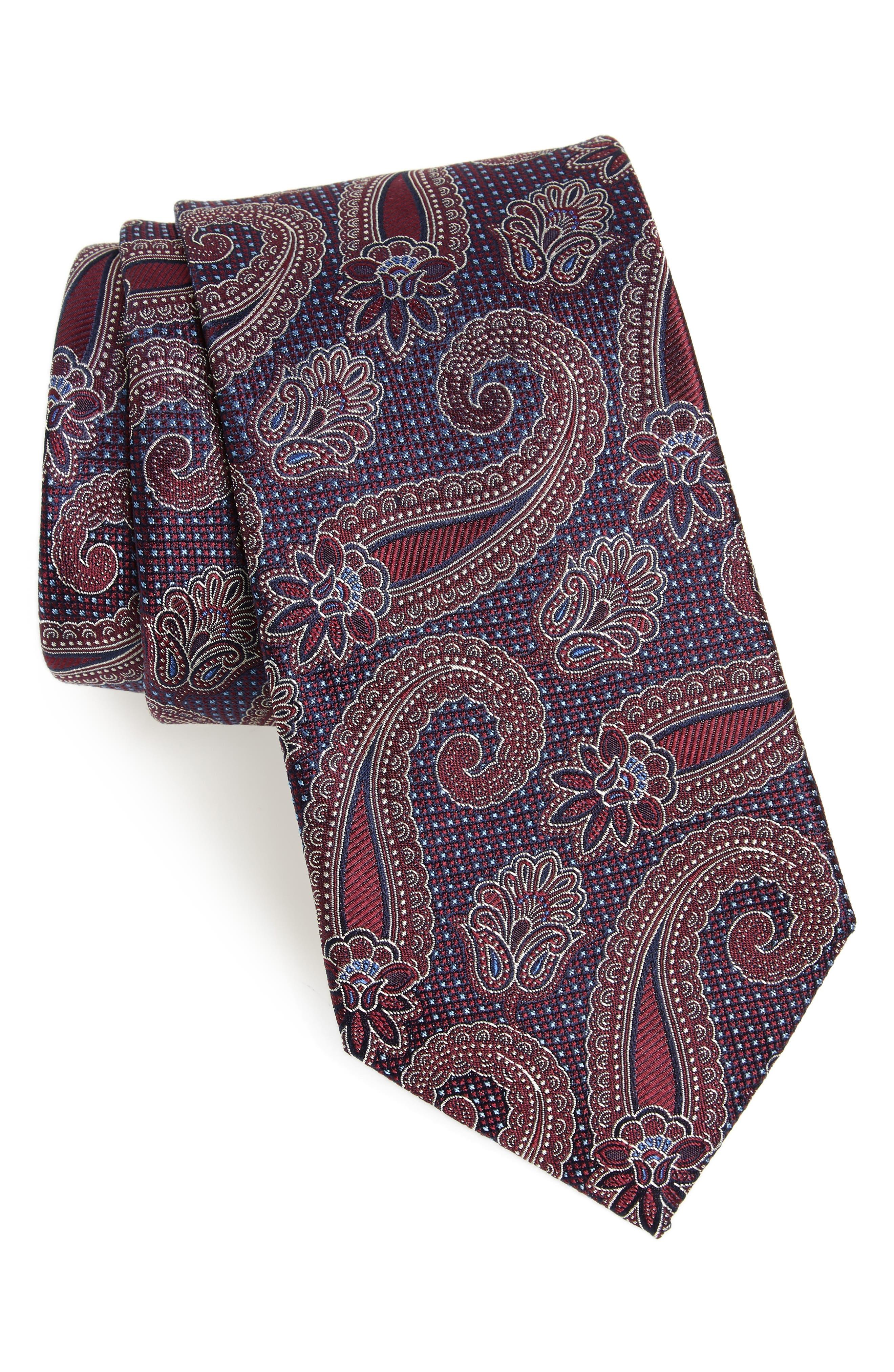 1920s Bow Ties | Gatsby Tie,  Art Deco Tie Mens Nordstrom Mens Shop Emery Paisley Silk Tie Size Regular - Burgundy $79.50 AT vintagedancer.com