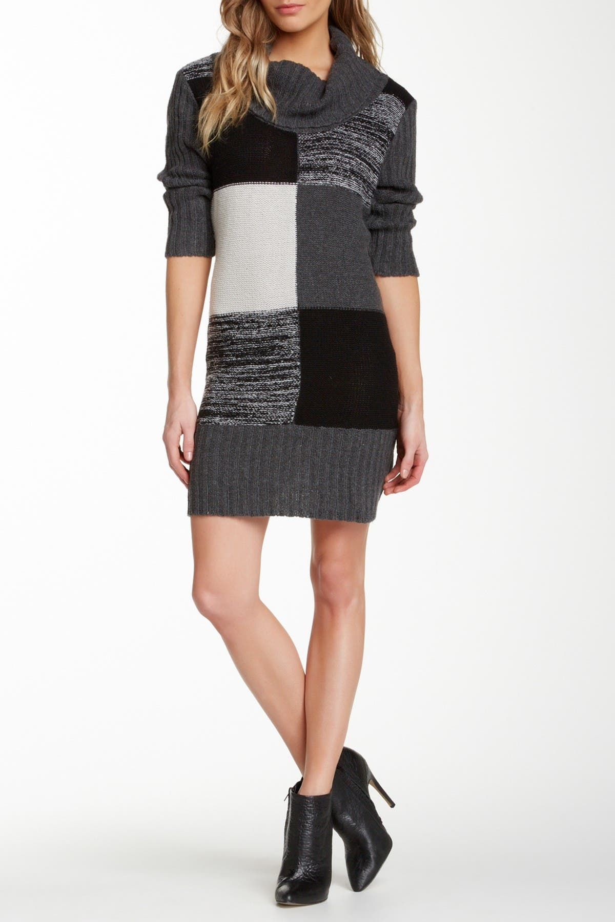 Image of Papillon Cowl Neck Patch Sweater Dress