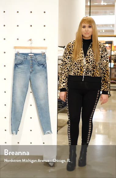 Cooper High Waist Raw Hem Button Fly Skinny Jeans, sales video thumbnail