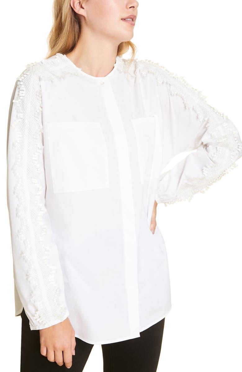 MARINA RINALDI Bagliore Lace Detail Cotton Long Sleeve Blouse, Main, color, WHITE