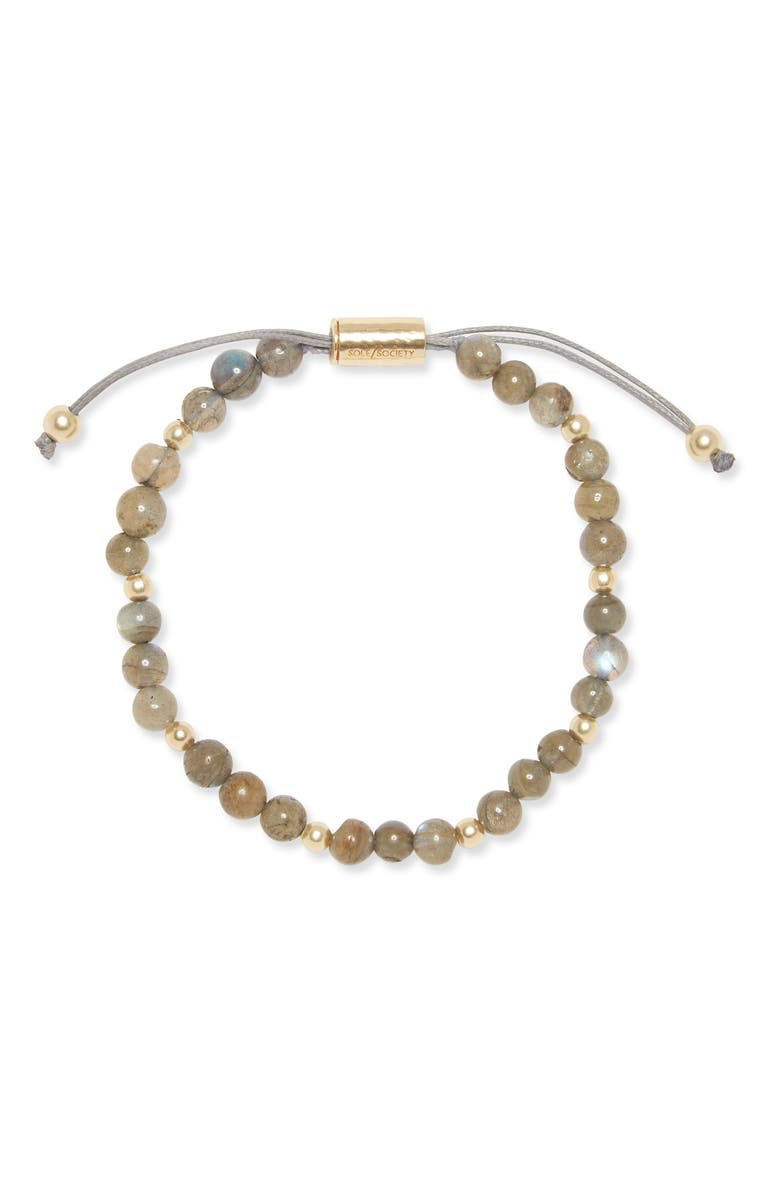 SOLE SOCIETY Slider Bracelet, Main, color, GOLD/ LABRADORITE
