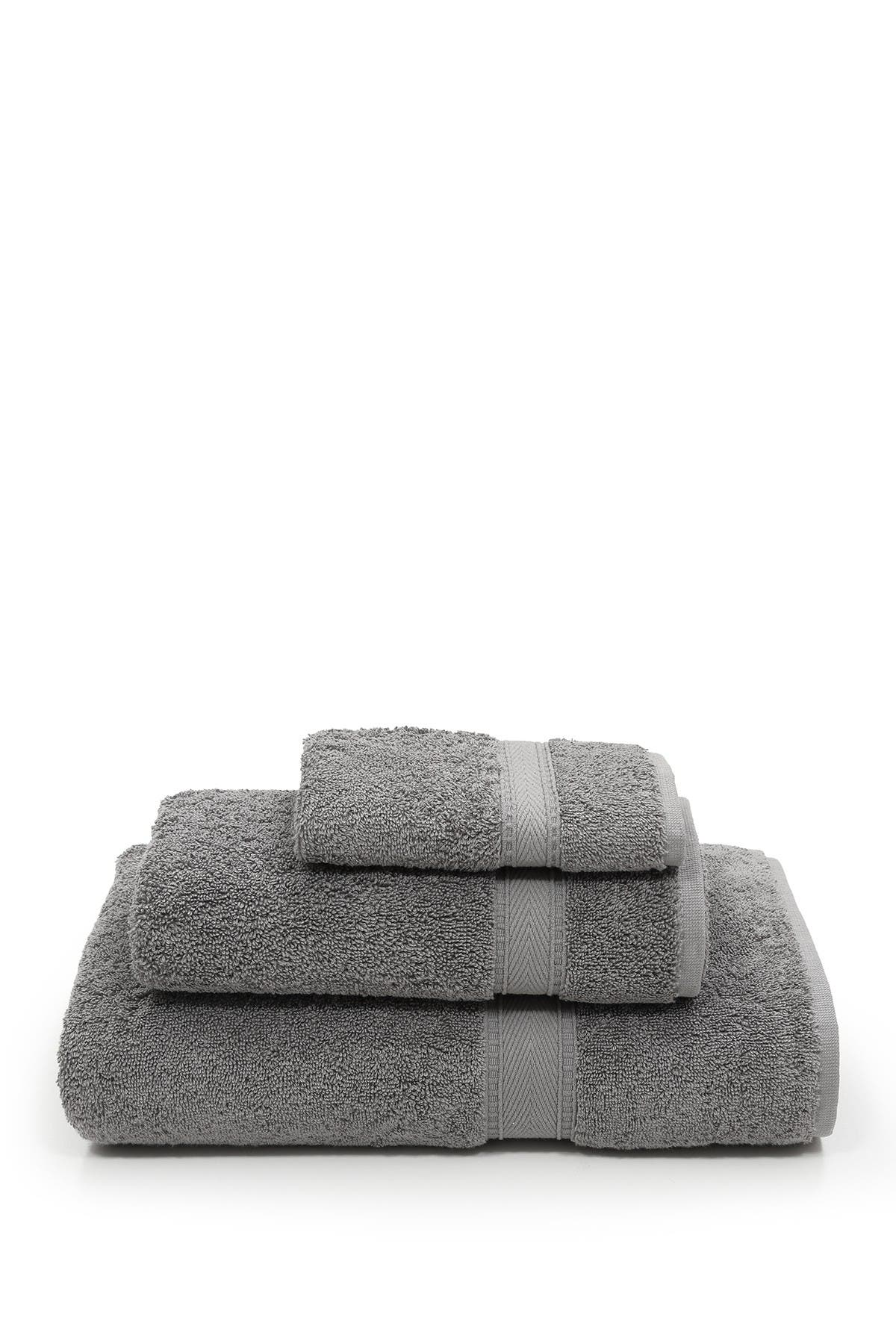 Image of LINUM HOME Sinemis Terry 3-Piece Towel Set - Dark Grey
