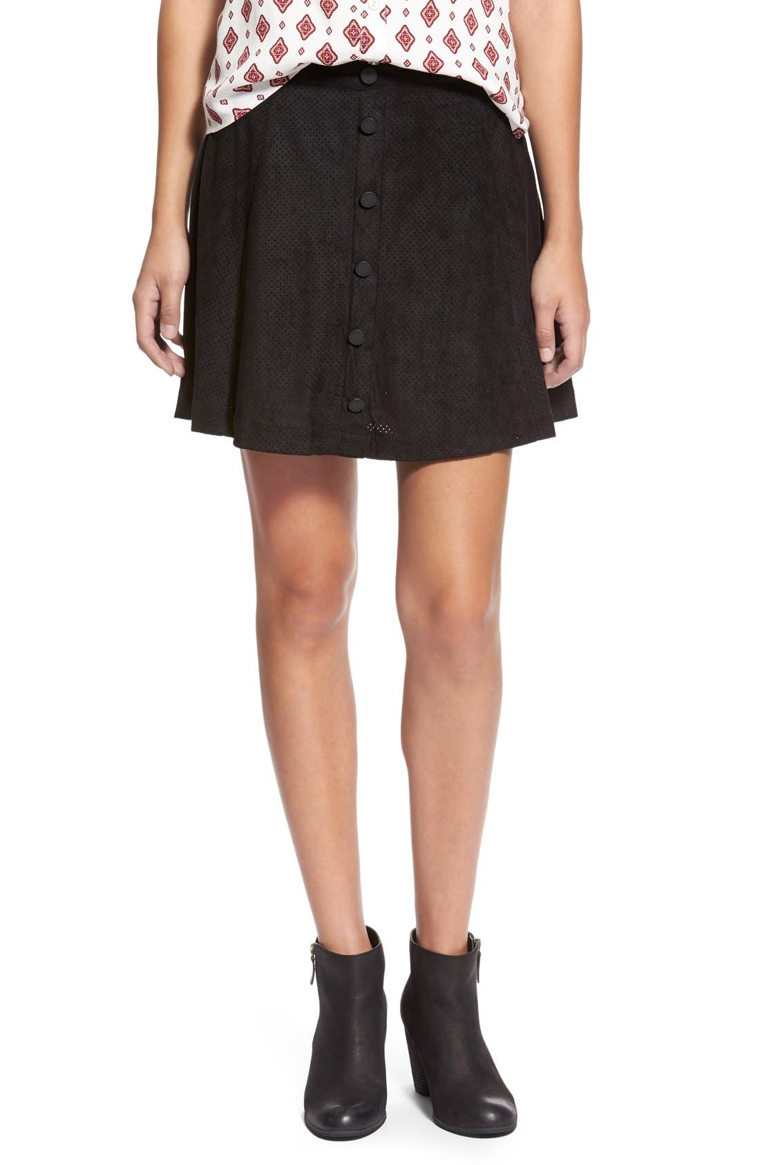 ,                             Button Front Skirt,                             Main thumbnail 1, color,                             015