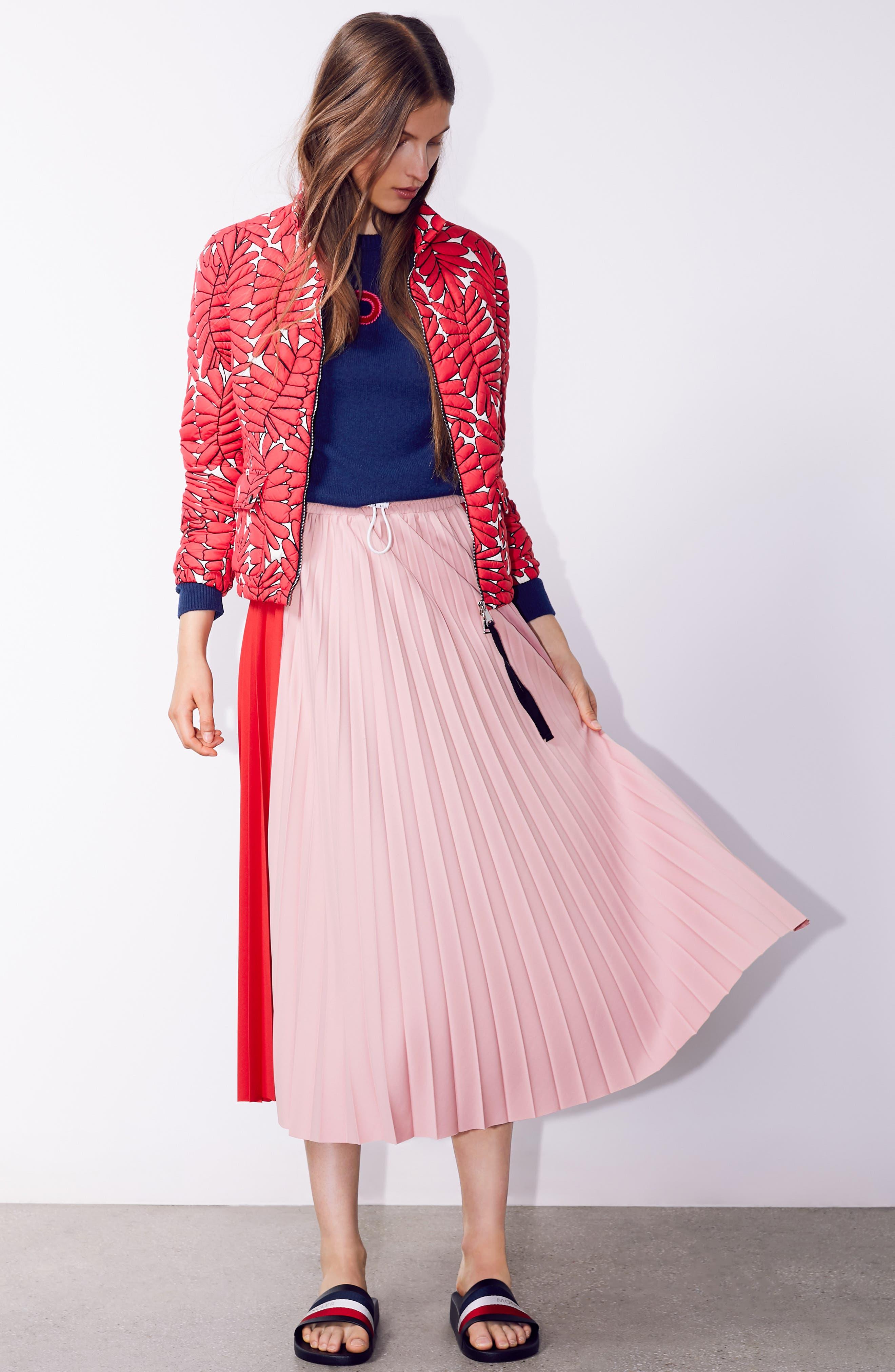 ,                             Colorblock Pleated Skirt,                             Alternate thumbnail 7, color,                             MEDIUM RED