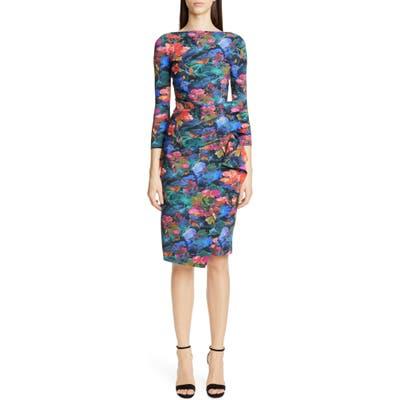 Chiara Boni La Petite Robe Zelma Side Ruffle Floral Print Cocktail Dress, 8 IT - Black