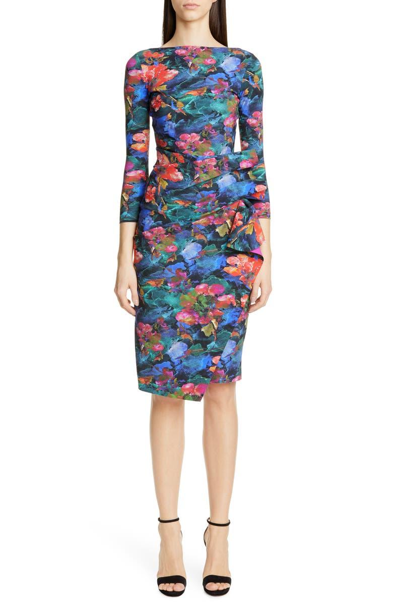 CHIARA BONI LA PETITE ROBE Zelma Side Ruffle Floral Print Cocktail Dress, Main, color, AMARYLLIS