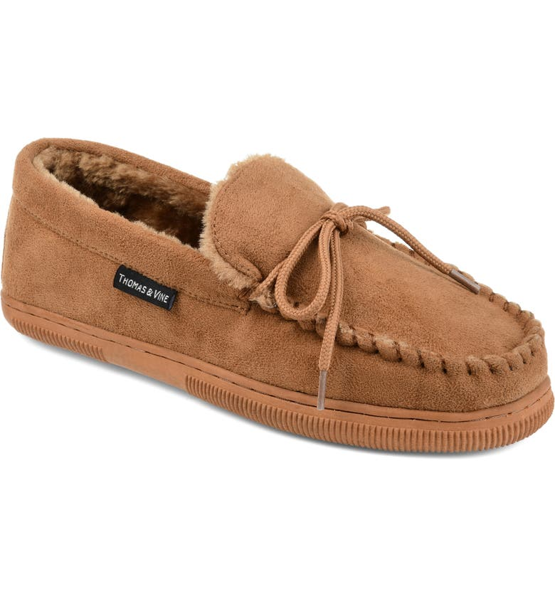 THOMAS & VINE Orion Moccasin Slipper with Faux Fur, Main, color, HICKORY FAUX SUEDE