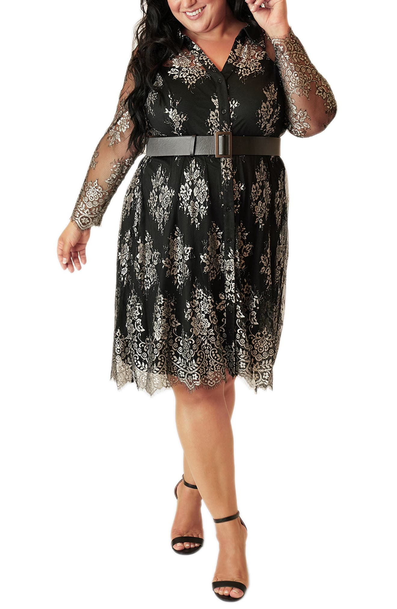 60s 70s Plus Size Dresses, Clothing, Costumes Plus Size Womens Maree Pour Toi Long Sleeve Belted Lace Dress $189.00 AT vintagedancer.com