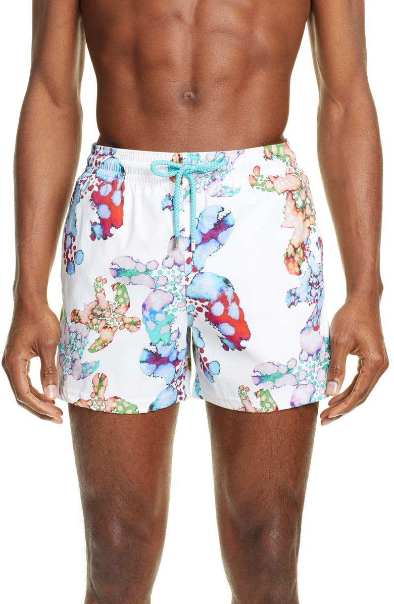 VILEBREQUIN Moorea Watercolor Print Swim Trunks, Main, color, BLANC