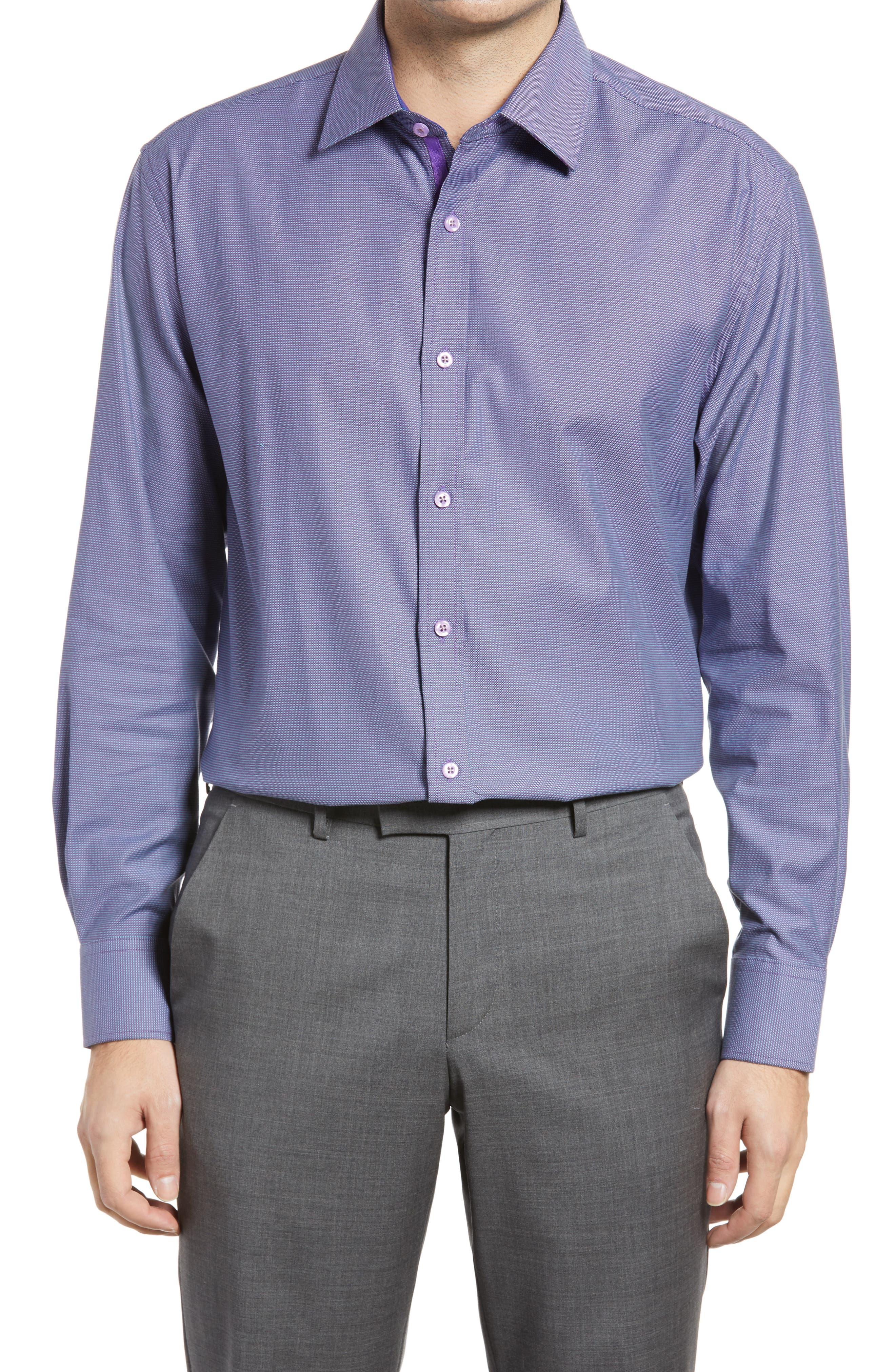 Trim Fit Houndstooth Dress Shirt