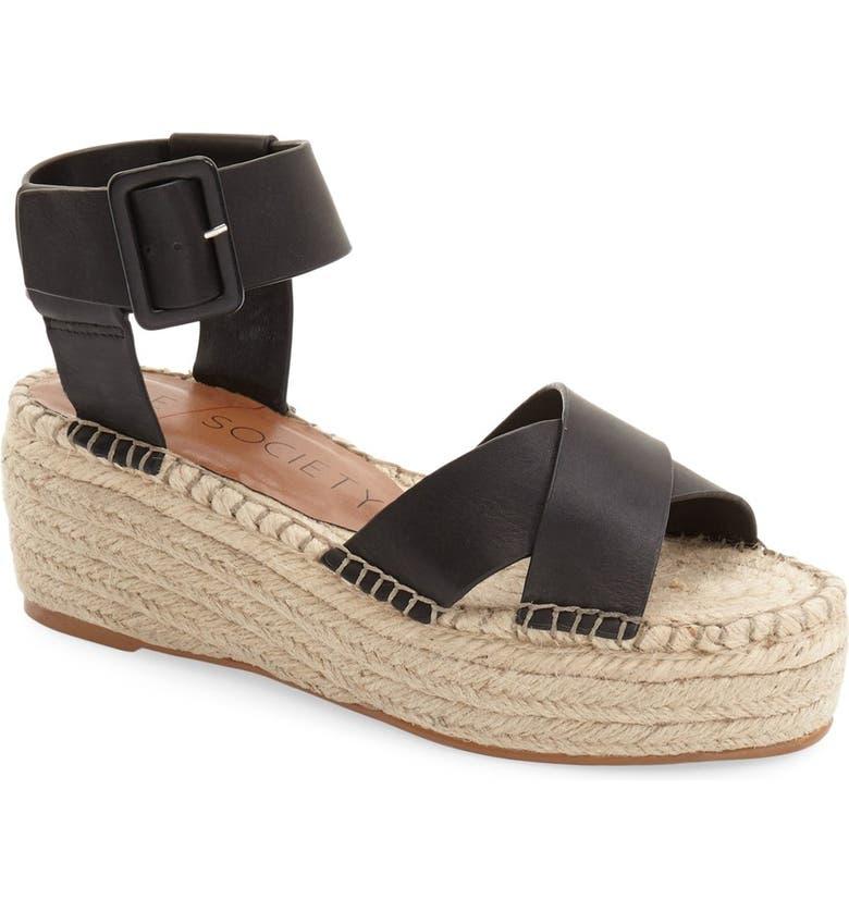 SOLE SOCIETY Audrina Platform Espadrille Sandal, Main, color, BLACK LEATHER
