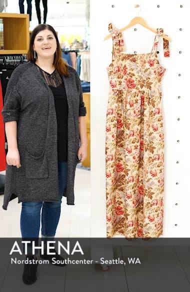 Floral Print Tie Shoulder Cotton Maxi Dress, sales video thumbnail