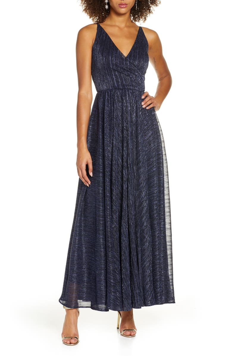 DRESS THE POPULATION Valentina Metallic Fit & Flare Gown, Main, color, METALLIC NAVY