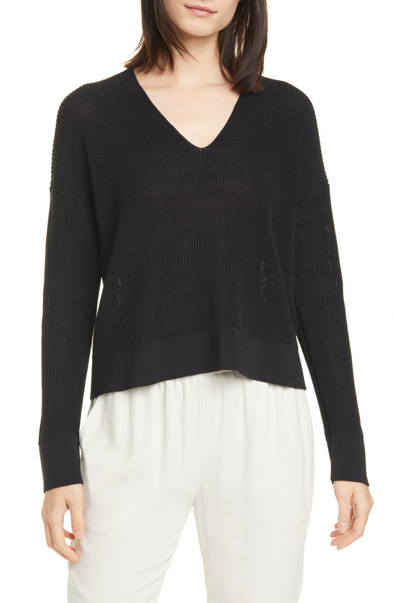 EILEEN FISHER Boxy V-Neck Pullover, Main, color, BLACK