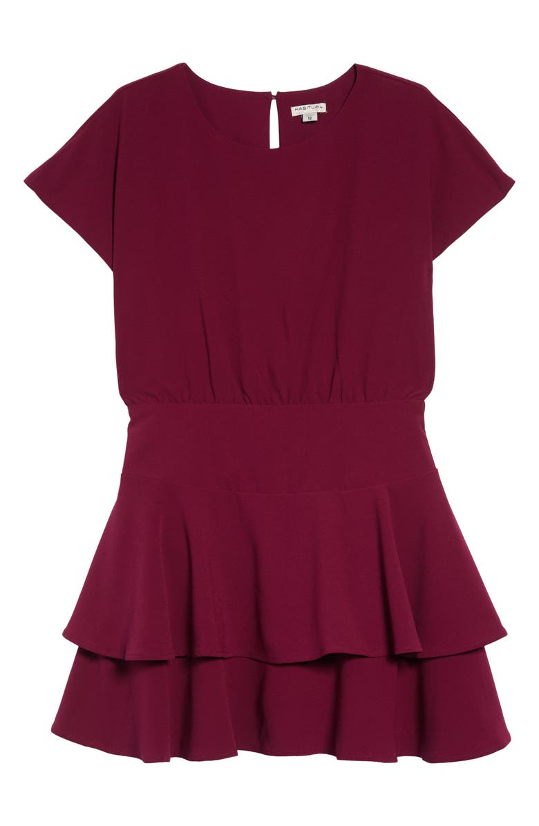 HABITUAL Gracie Crepe Flounce Dress, Main, color, PLUM