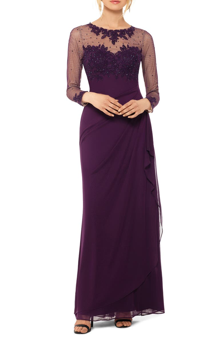 XSCAPE Illusion Neck Gown, Main, color, PLUM