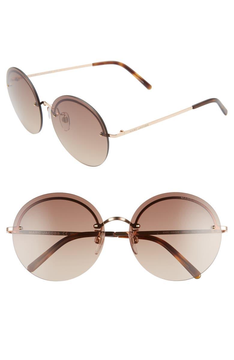 THE MARC JACOBS 60mm Round Sunglasses, Main, color, DKHAVANA/ BROWN GRADIENT