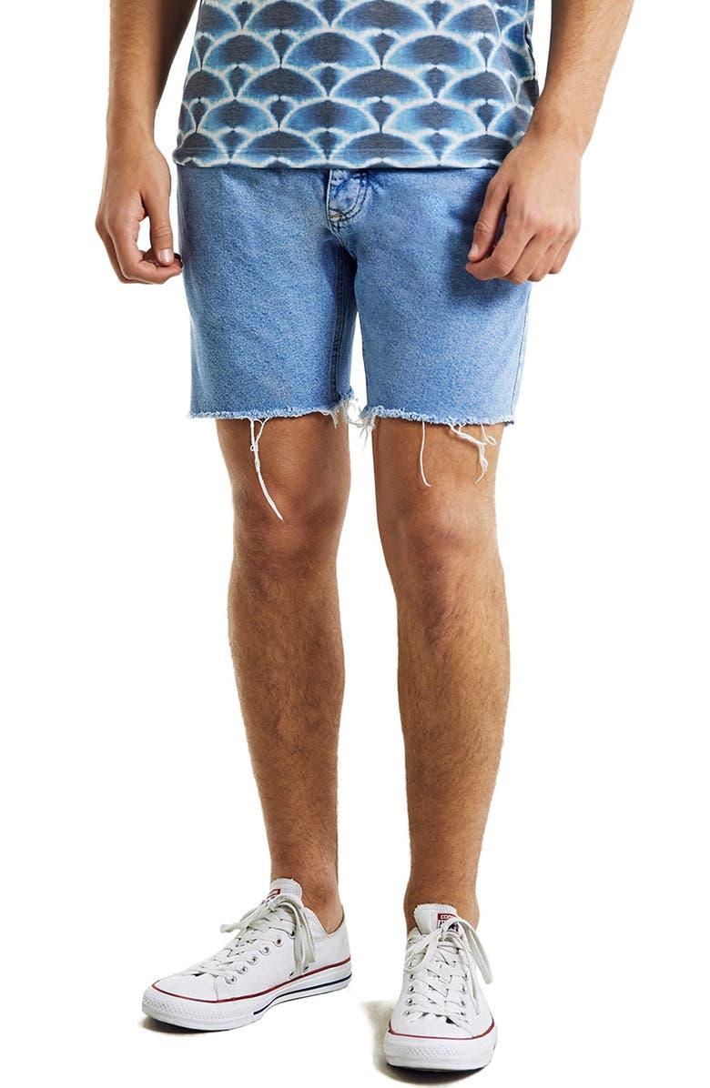 TOPMAN Skinny Fit Cutoff Denim Shorts, Main, color, 450