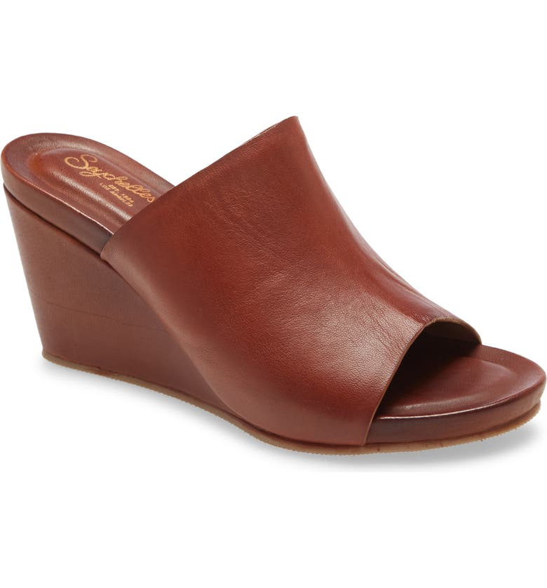 SEYCHELLES Perky Wedge Slide Sandal, Main, color, TAN LEATHER
