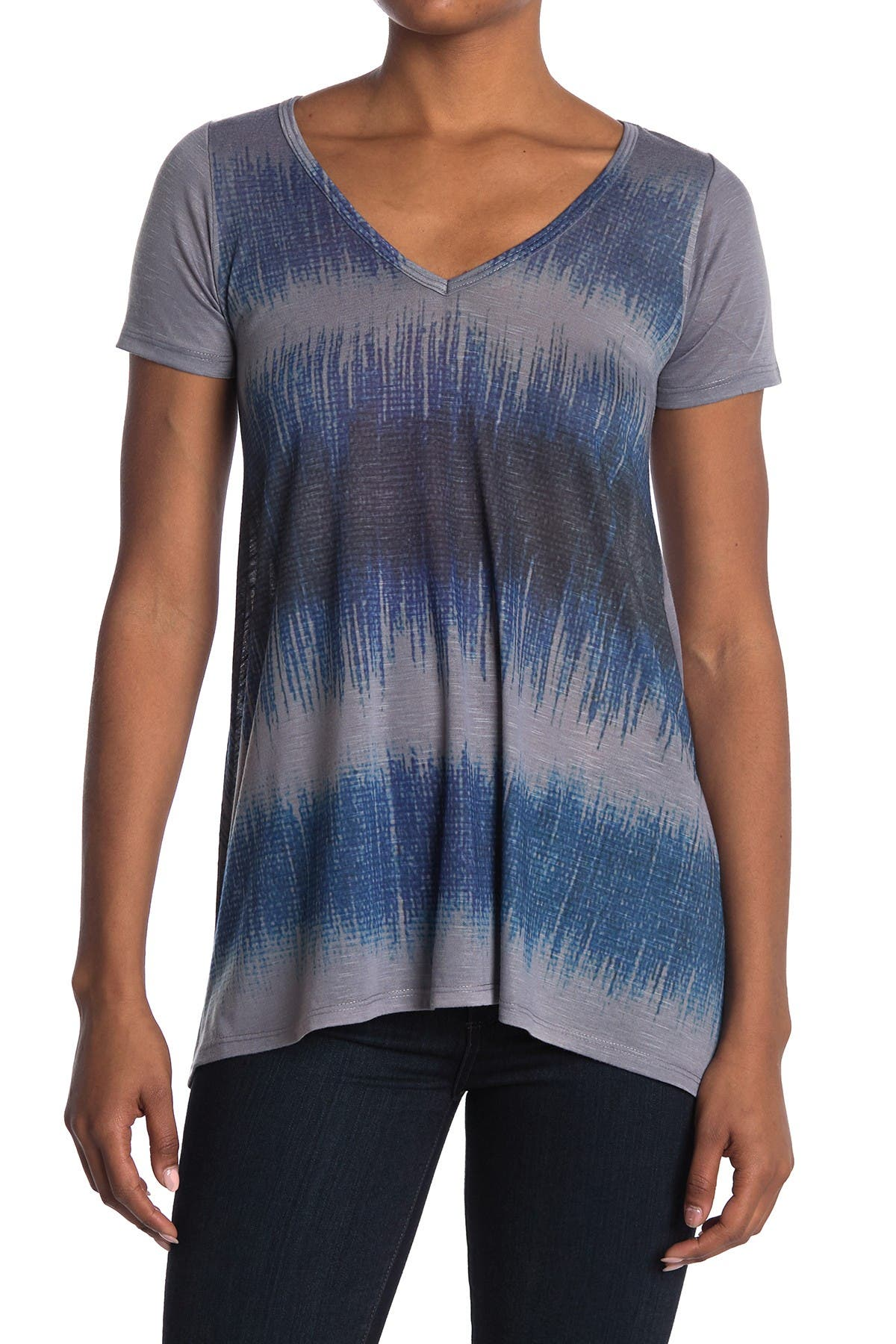 Image of Go Couture Printed V-Neck Asymmetric Tunic
