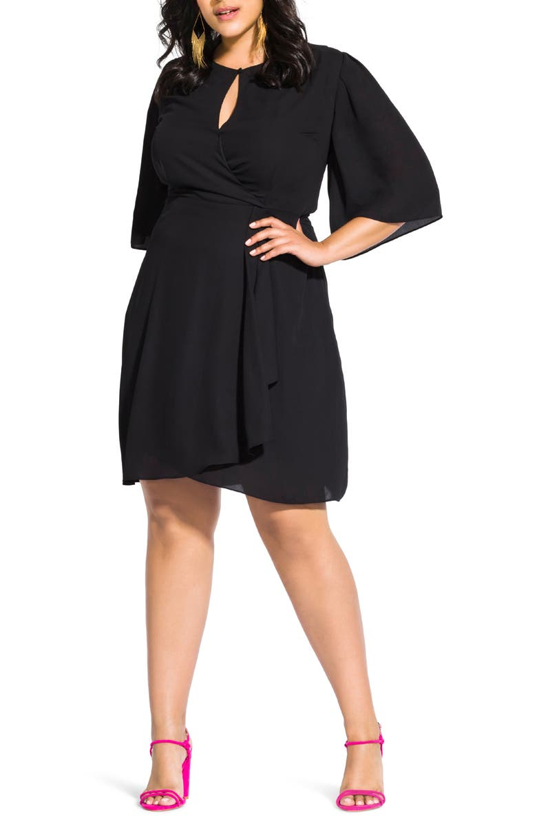 CITY CHIC Jolie Faux Wrap Dress, Main, color, 001