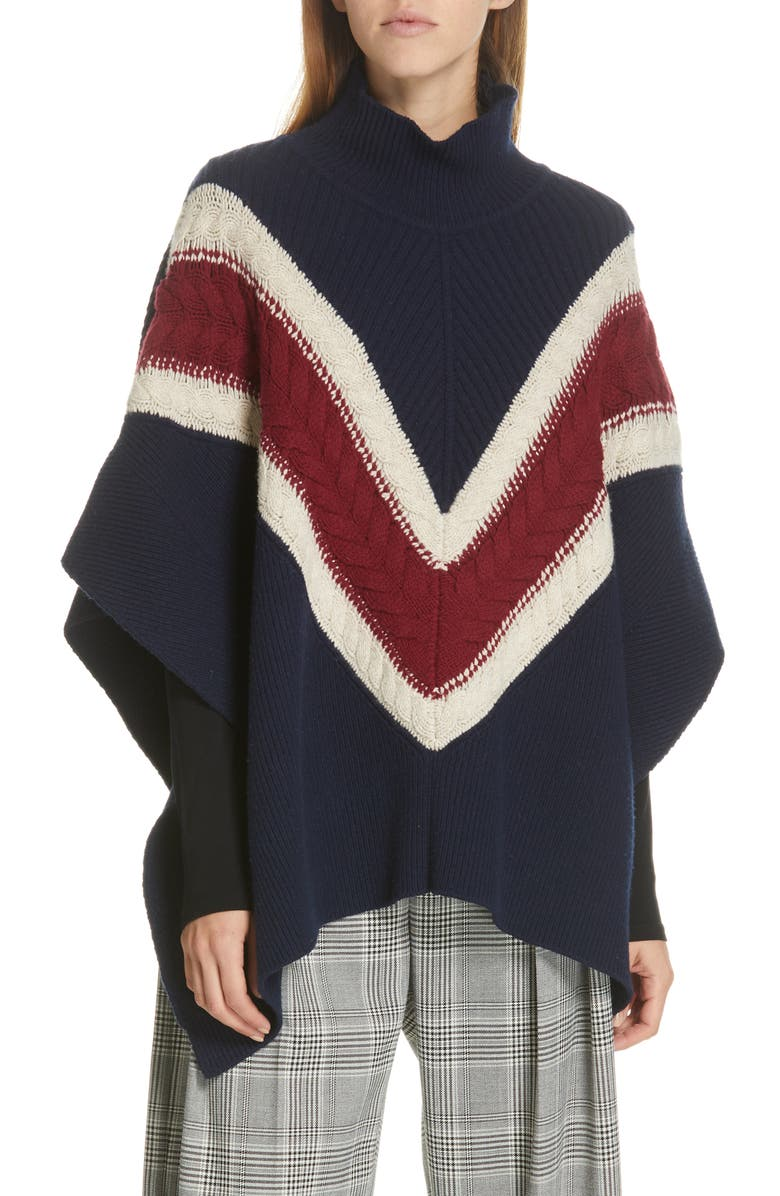 SEE BY CHLOÉ Stripe Poncho, Main, color, DARK BLUE