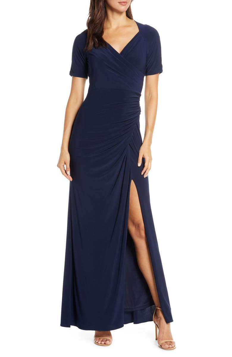 ADRIANNA PAPELL Ruched Jersey Gown, Main, color, 401