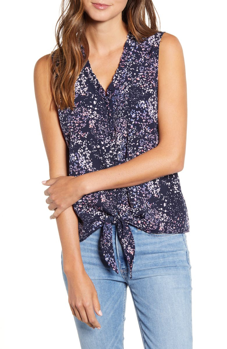 BOBEAU Gabrielle Print Tie Front Top, Main, color, ABSTRACT DITSY