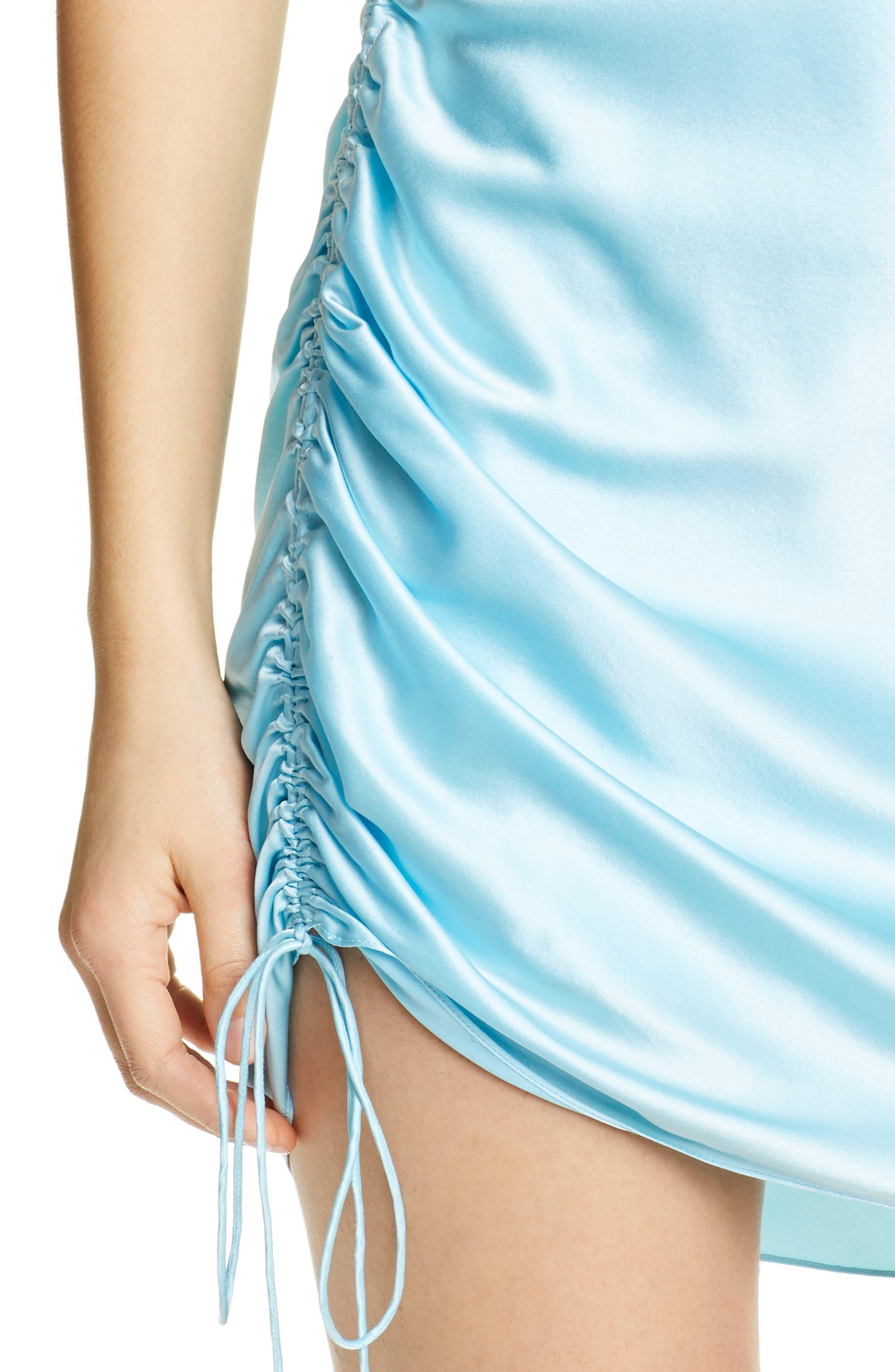 ,                             Astrid Ruched Silk Satin Slipdress,                             Alternate thumbnail 4, color,                             BLUE TOPAZ