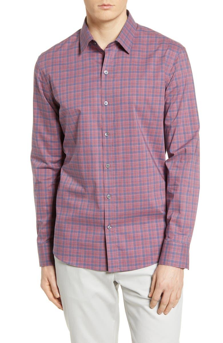 ZACHARY PRELL Regular Fit Plaid Button-Up Shirt, Main, color, FLAMINGO