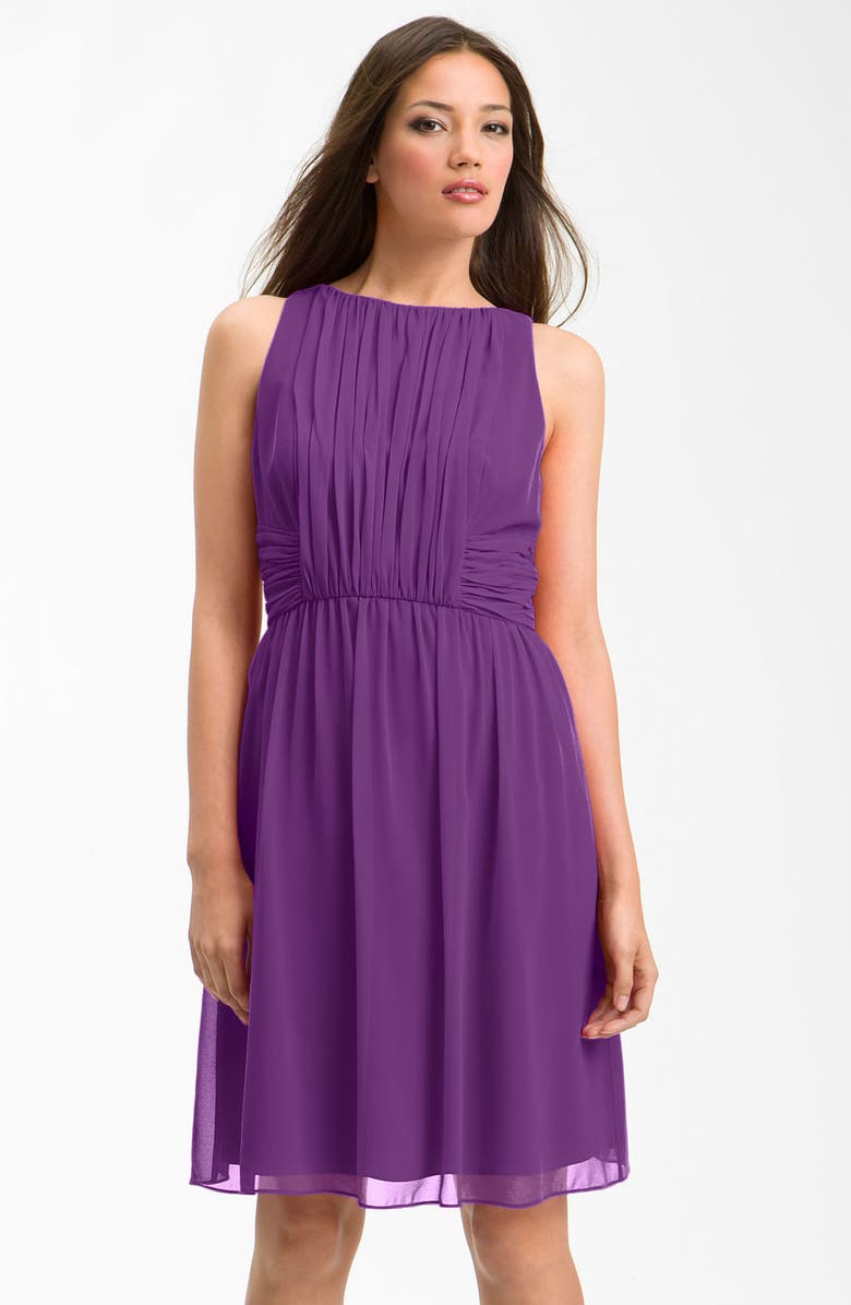 DONNA MORGAN Sleeveless Vertical Pleat Chiffon Dress, Main, color, 502