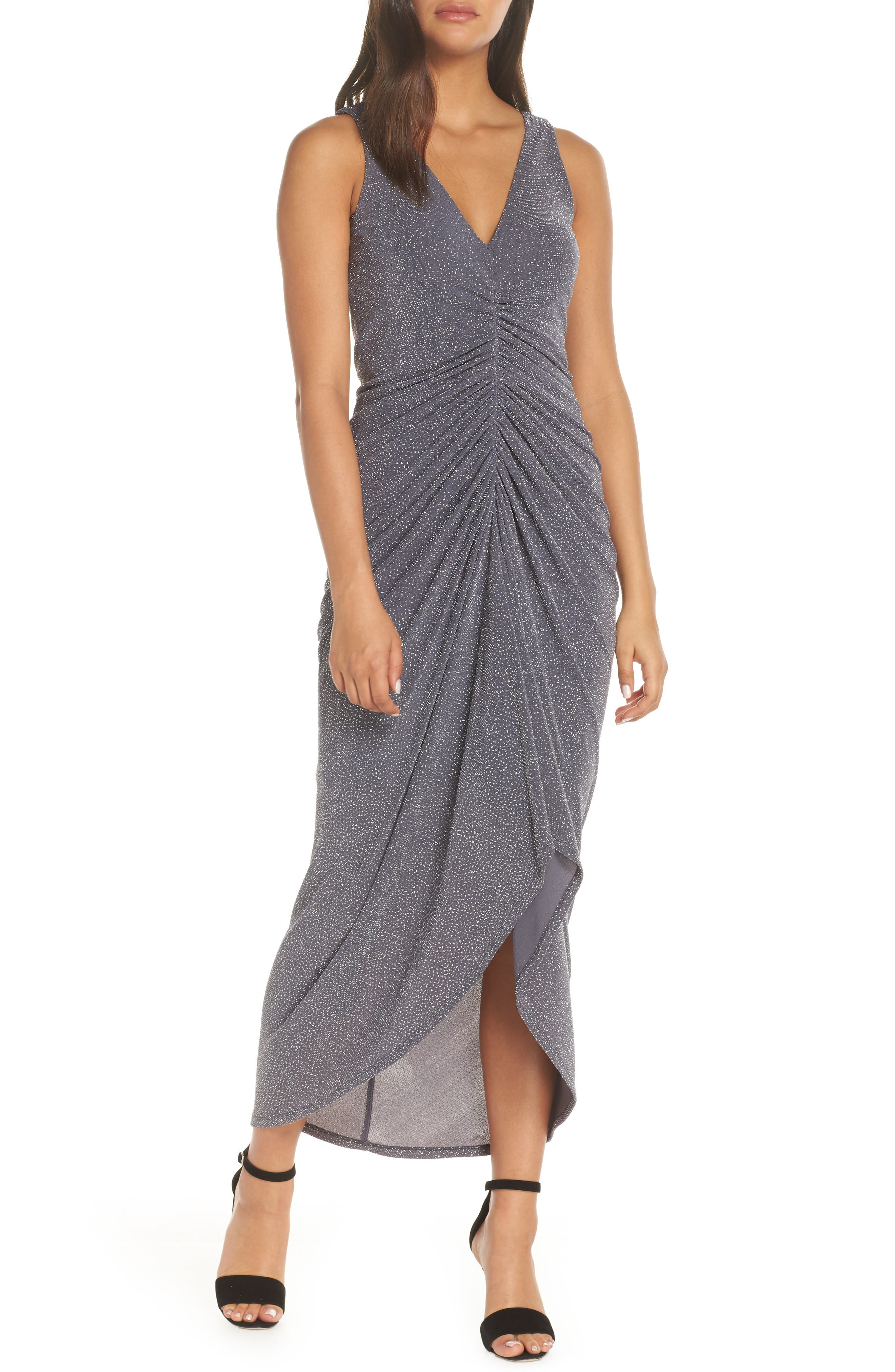 ,                             Ruched Glitter Knit Gown,                             Main thumbnail 1, color,                             STEEL