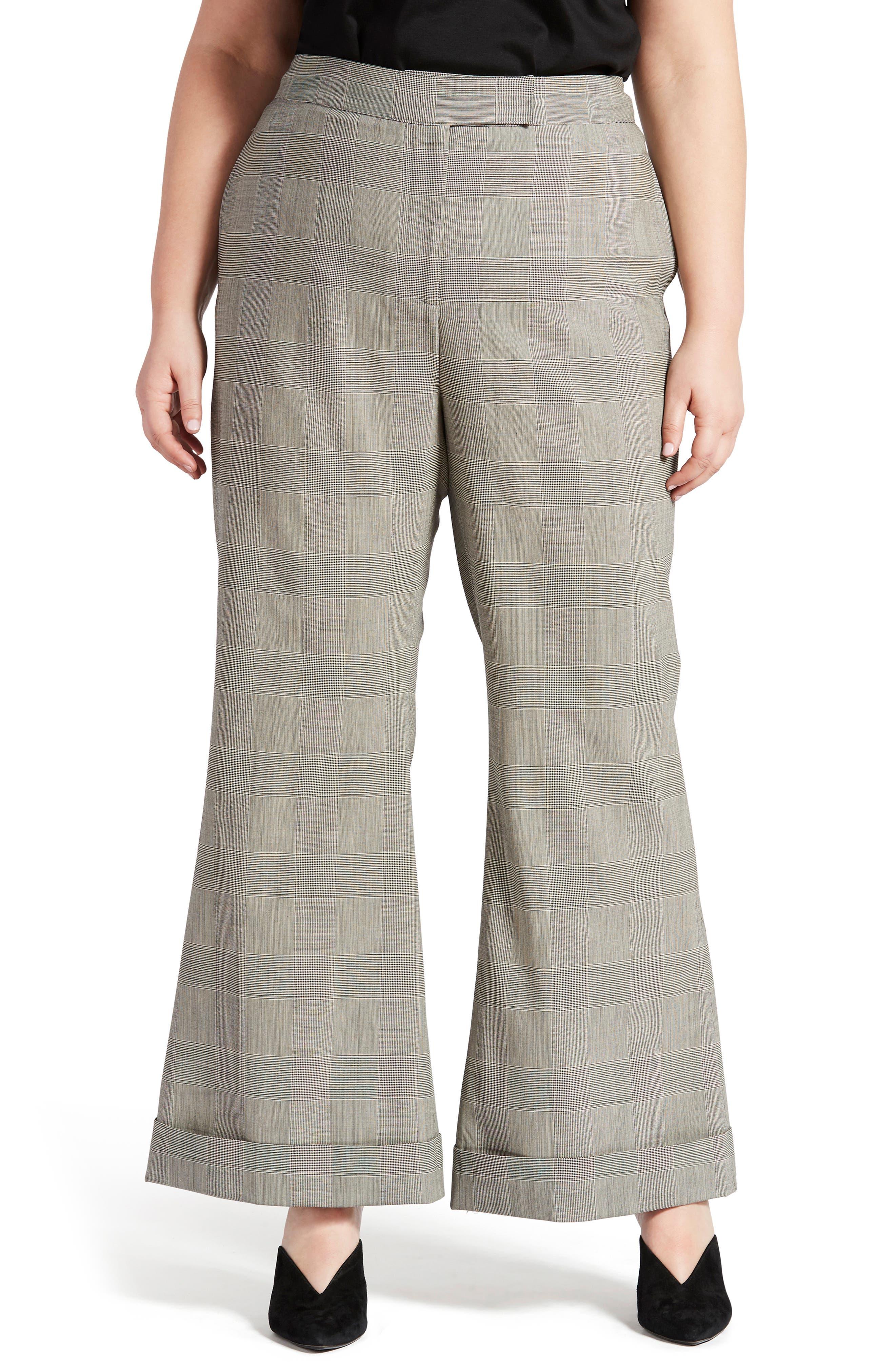 Plus  Women's Pari Passu Wool Blend Wide Leg Pants,  5 (fits like 20 US) Shape D (Hourglass) - Black