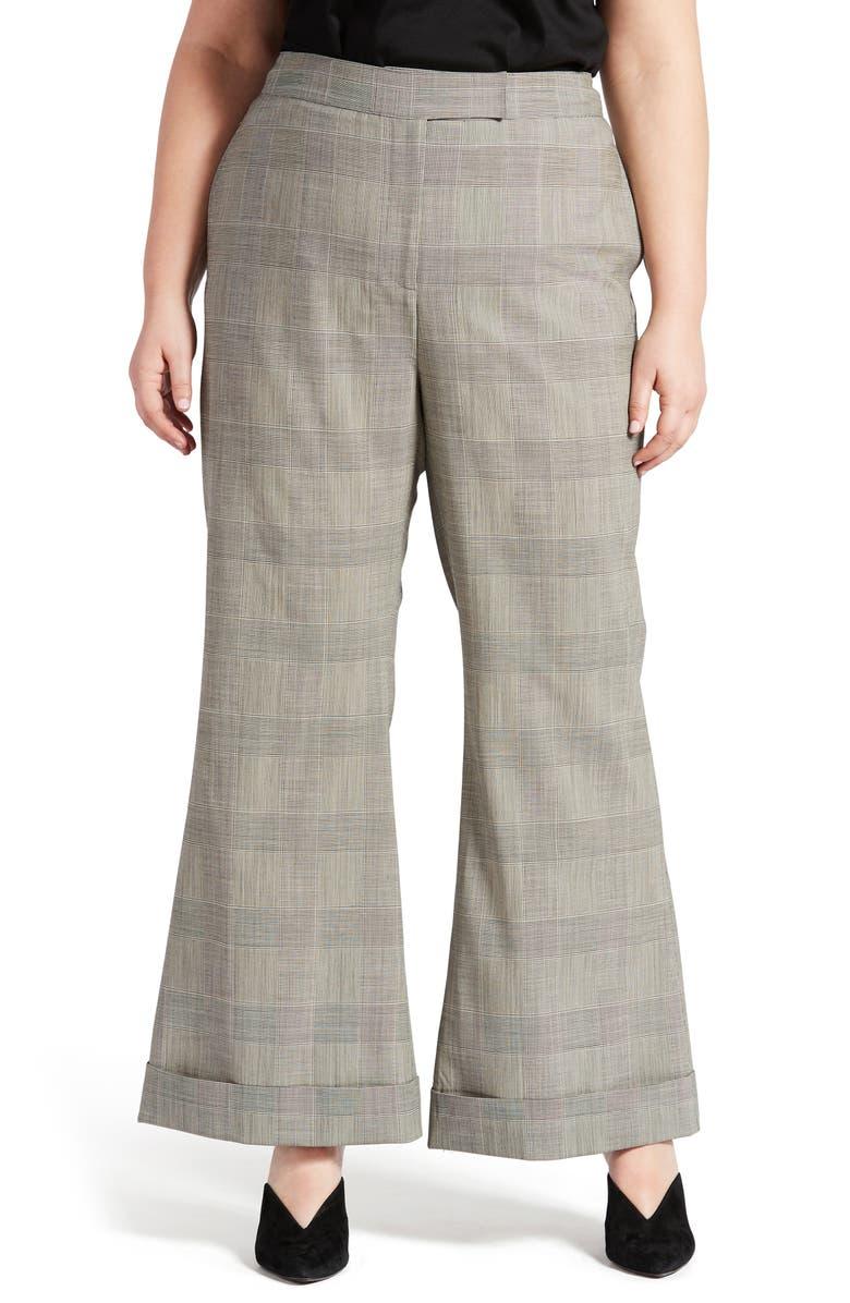 PARI PASSU Wool Blend Wide Leg Pants, Main, color, BLACK MULTI