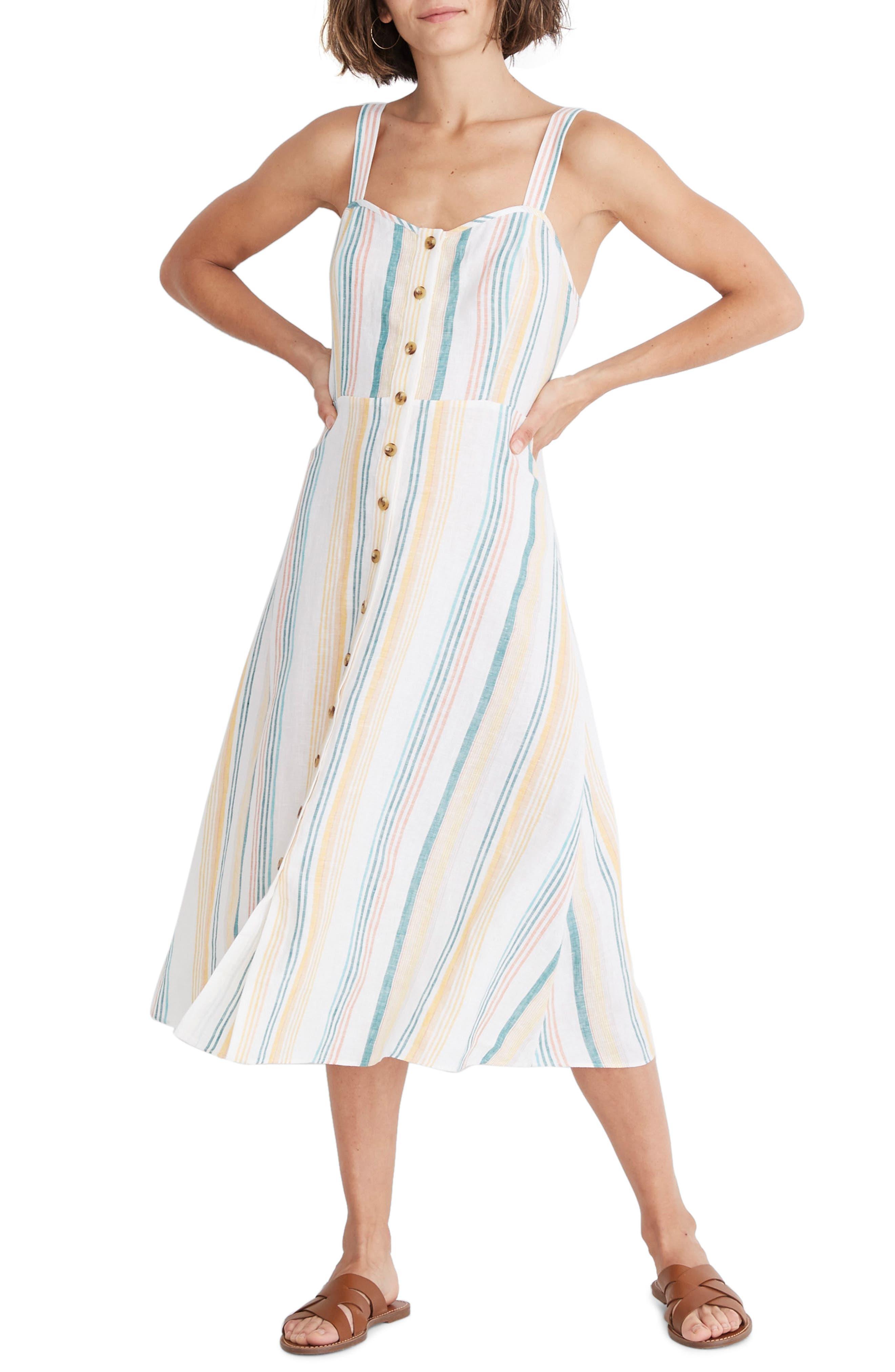 Madewell Rainbow Stripe Linen Midi Dress, Ivory