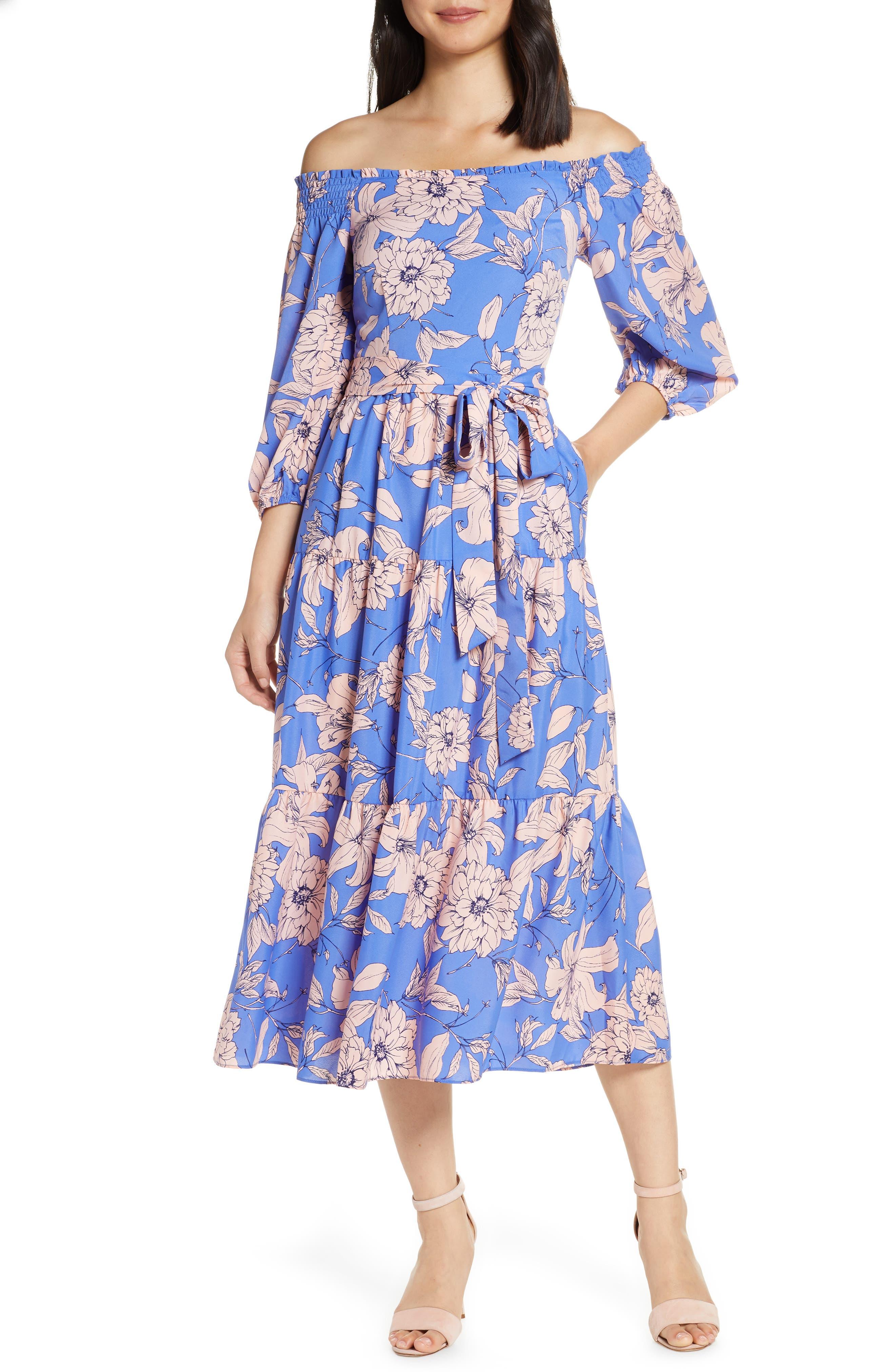 Eliza J Floral Off The Shoulder Midi Dress, Blue