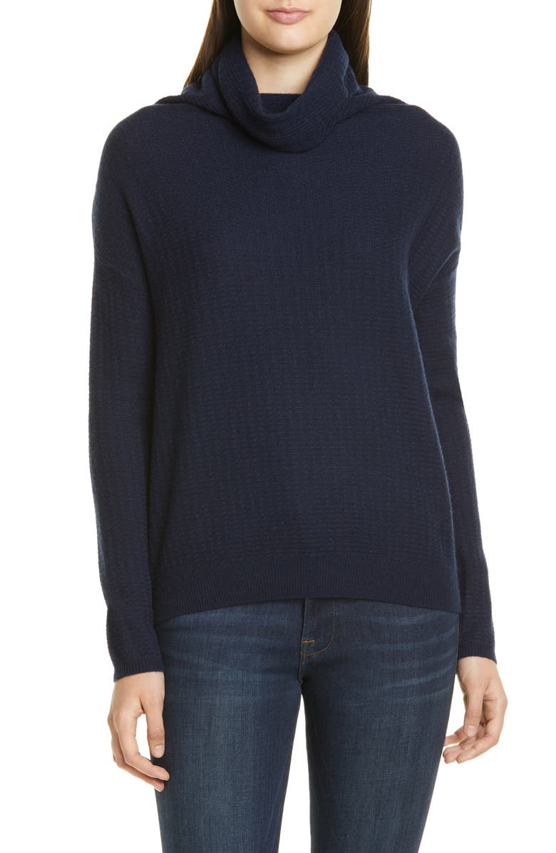 NORDSTROM SIGNATURE Scrunch Neck Cashmere Sweater, Main, color, NAVY NIGHT