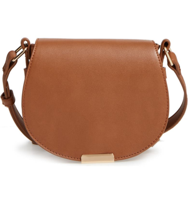BP. Faux Leather Small Saddle Crossbody Bag, Main, color, 200