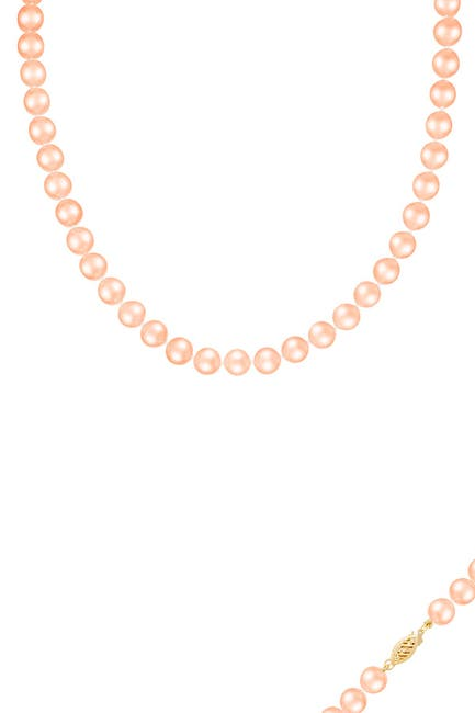 Image of Splendid Pearls 14K Gold 9-10mm Pink Freshwater Pearl Necklace