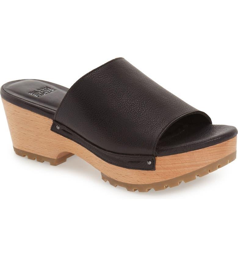 EILEEN FISHER Wooden Platform Slide Sandal, Main, color, 001