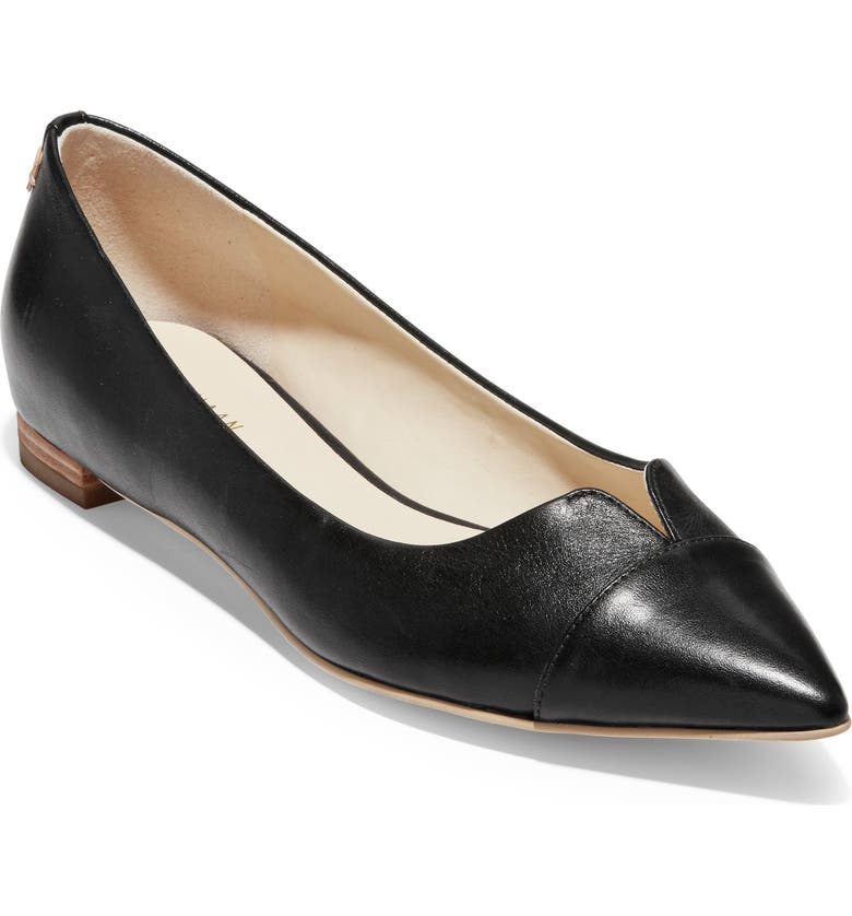 COLE HAAN Ednah Skimmer Flat, Main, color, BLACK LEATHER