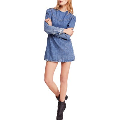 Free People Self Control Denim Minidress, Blue