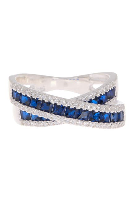 Image of Best Silver Inc. Sterling Silver Sapphire Crystal Crossover Ring