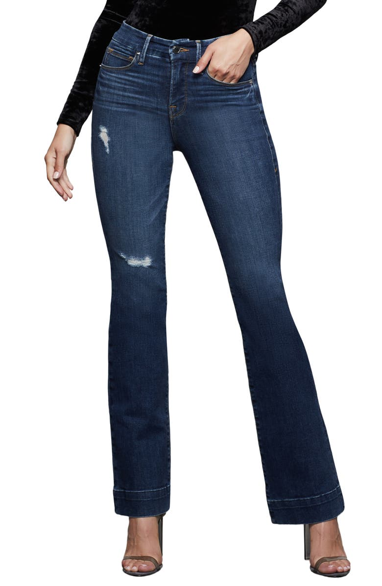 GOOD AMERICAN Good Flare Jeans, Main, color, BLUE