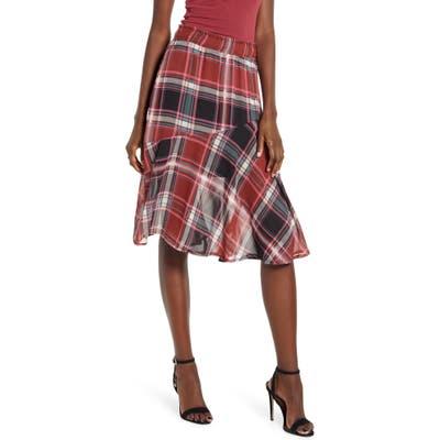 Vera Moda Nora Plaid Asymmetrical Ruffle Skirt, Brown