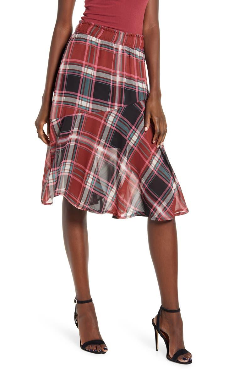 VERO MODA VERA MODA Nora Plaid Asymmetrical Ruffle Skirt, Main, color, 200