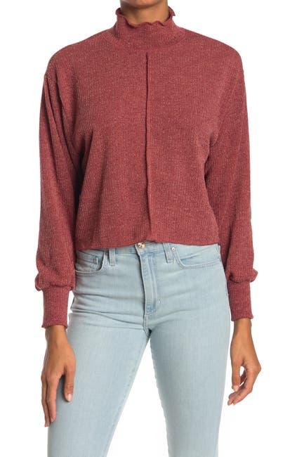 Image of Lush Front Seam Boxy Mock Neck Sweater