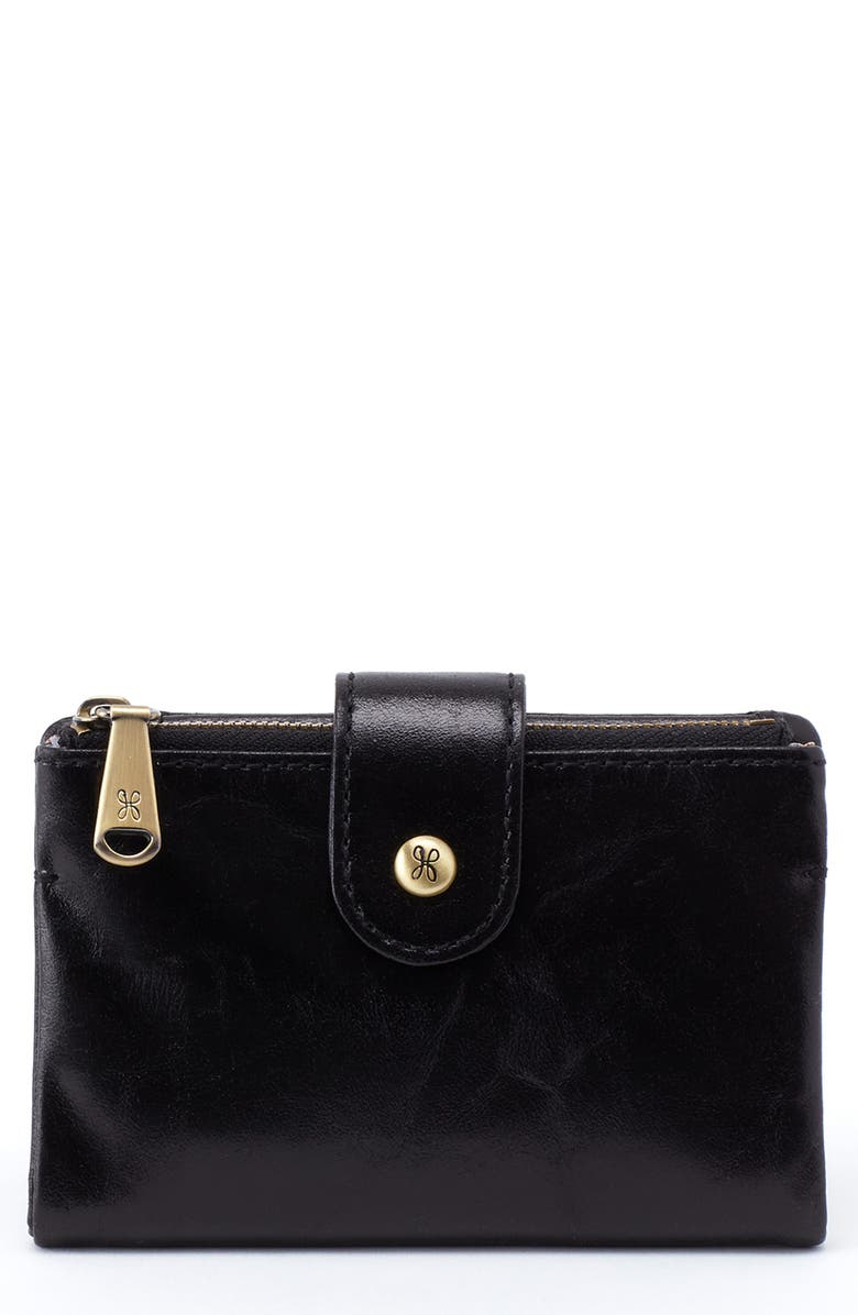 HOBO Ray Leather Bifold Wallet, Main, color, BLACK