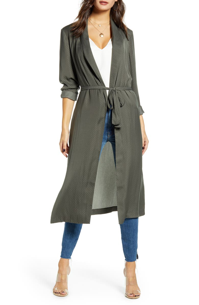 WAYF La Roux Belted Duster, Main, color, OLIVE JACQUARD