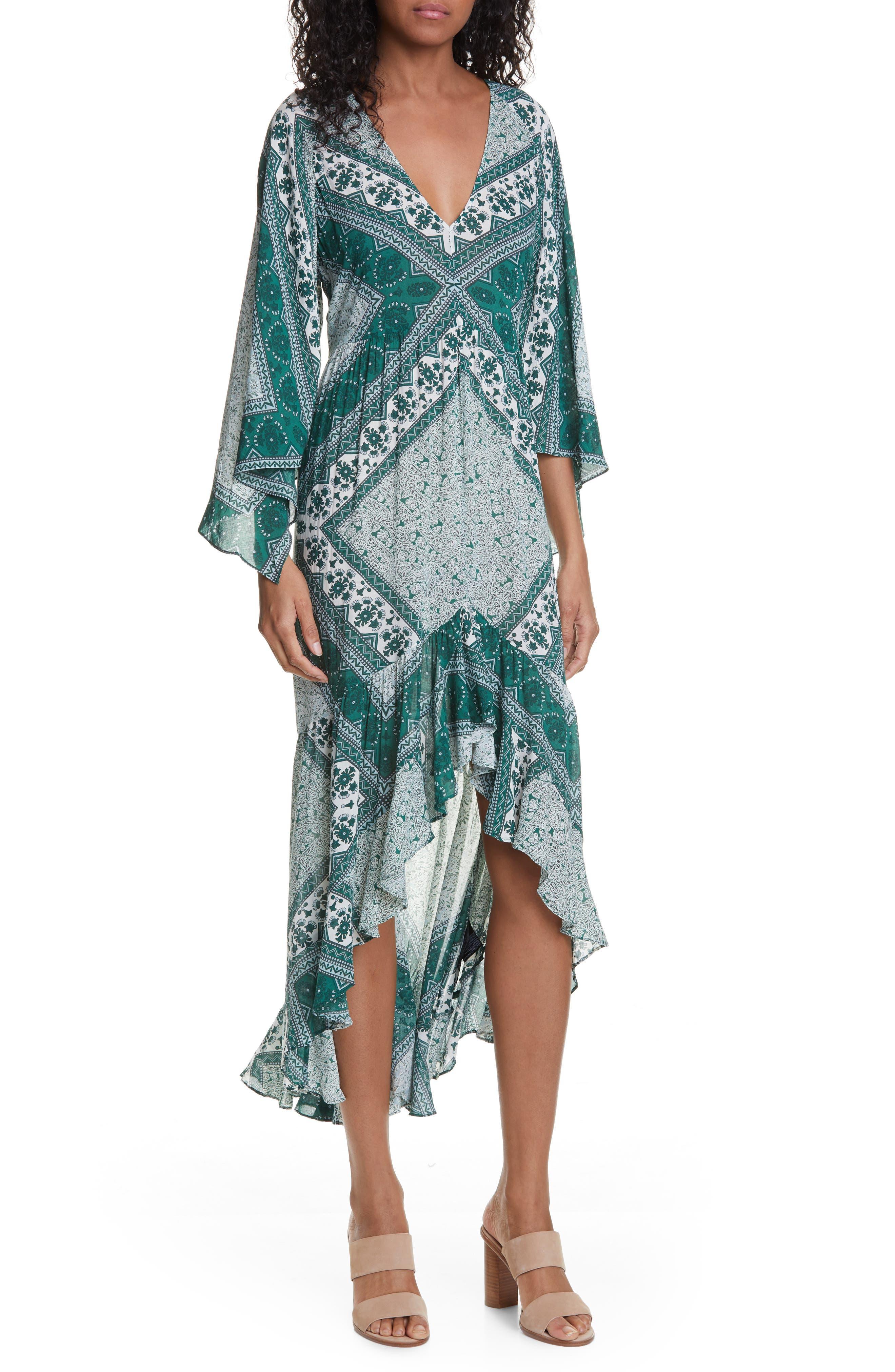 Ba & sh Usso Mixed Print High/low Dress, Green